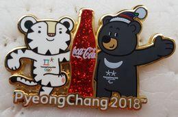 JEUX OLYMPIQUES PYEONGCHANG 2018 PIN'S COCA-COLA MASCOTTES SOOHORANG ET BANDABI - Olympische Spiele