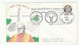 1979 Lanham USA LIONS CLUB POPE JOHN PAUL II EVENT COVER Lions International Religion Health Deaf Blind Stamps - Popes