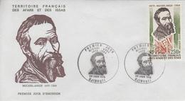 Enveloppe  FDC  1er  Jour  TERRITOIRE  FRANCAIS   Des   AFARS  Et  ISSAS    MICHEL - ANGE   1975 - Afars Et Issas (1967-1977)