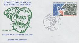 Enveloppe  FDC  1er Jour  TERRITOIRE  FRANCAIS   Des   AFARS  Et  ISSAS   Centenaire  Du  Téléphone  Graham  BELL   1976 - Afars Et Issas (1967-1977)