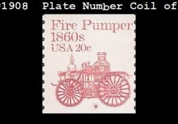 US 1908 PNC1 Plate #9 Fire Pumper 1860s - Blocks & Kleinbögen
