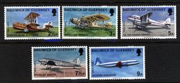 GUERNSEY - 1973 AIR SERVICES (5V) FINE MNH ** - Airplanes