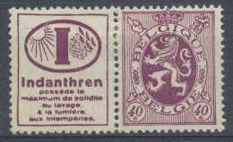 [807017] */Mh-PU26, 40c Lion Héraldique, Avec Pub 'Indanthren', */mh, Peu Courant - Publicités