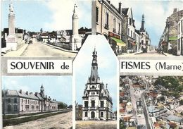 """CPM. MULTIVUES """" SOUVENIR DE FISMES """" ECRITE LE 1-9-1962 AU VERSO - Fismes"""