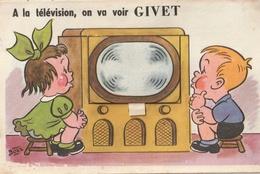 GIVET - Carte à Système ( Dépliant Mini-vues ) A La Télé On Va Voir Givet - Givet