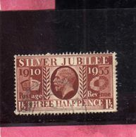 GREAT BRITAIN GRAN BRETAGNA 1936 KING EDWARD VIII RE EDOARDO SILVER JUBILEE ISSUE ROI 1 1/2p USATO USED OBLITERE' - Usati