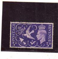 GREAT BRITAIN GRAN BRETAGNA 1946 KING GEORGE VI RE GIORGIO ROI PEACE SYMBOL PACE END WAR 3p USATO USED OBLITERE' - Usati