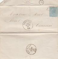 LAC T.18 Obl Ldp 214 De Lessines Vers Tournay - 1865-1866 Profil Gauche