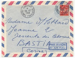 Enveloppe Aff. FM Rouge - Oblit. CONAKRY - GUINEE FRANCAISE - 1953 - Franchise Militaire (timbres)