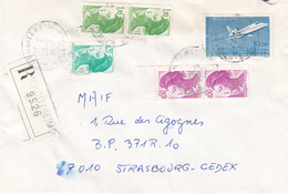 Env Reco Affr Y&T 2181 + 2184 X 2 + 2318 X 2 + 2372 Obl HERBITZHEIM Du 28.5.1985 Adressée à Strasbourg - Postmark Collection (Covers)