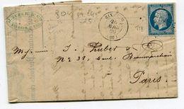 HAUT RHIN De RIXHEIM LAC Du 26/04/1860 Avec N°14 Oblitéré PC 2689 En Tête Papiers JEAN ZUBER - Postmark Collection (Covers)