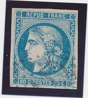 20 C Bleu N° 46 B Type III R 2 TB. - 1870 Emission De Bordeaux