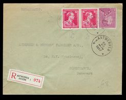 428 Paire + 429 Perforés ( Voir Dessin ) / Lsc Antwerpen 29 VIII 1937 => Copenhage Firme EIFFE & Co Au Verso - Perforés