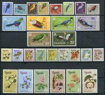 1965/7  - UGANDA  - FLOWERS-BIRDS- LOT-2 RARE SETS  -  29 VAL. M.N.H.- LUXE ! ! - Uganda (1962-...)