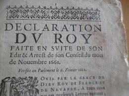 Déclaration Du Roy Novembre 1666 12 Pages Autographe Bouchard Bourg En Bresse Impôts Mouillures Manques En L'état - Décrets & Lois