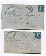 AUBE De ROMILLY SUR SEINE 2 LAC De 1861 Et 1862 Avec N°14 Oblitéré PC 2720 - Marcophilie (Lettres)