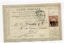 SEINE MARITIME De ROUEN CP Du 29/08/1873 Avec N°58 Oblitéré GC 3219 Repiquage F LARGET Et Cie ( 2 Scans) - Postmark Collection (Covers)