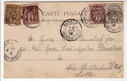 !!! CPA AFFRANCH TYPE BLANC CACHET MEURTHE & MOSELLE 1902 & FACTEUR BOITIER - 1900-29 Blanc