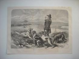 GRAVURE 1873. LE DRESSAGE DES CHIENS D'ARRET. - Music & Instruments