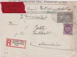 ALLEMAGNE 1923 LETTRE RECOMMANDEE EN EXPRES DE FRANKFURT AVEC CACHET ARRIVEE MANNHEIM - Deutschland