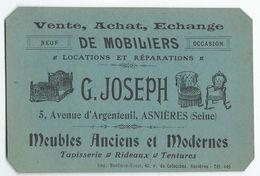 """ASNIERES (92) - Carte Commerciale De """"G. JOSEPH"""", 5 Avenue D'Argenteuil - Meubles Anciens Et Modernes - Asnieres Sur Seine"""