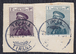 Kingdom Of Serbia 1911/1914 Definitive Of 2p And 1 Din, Cutting - Used (o), Tirana Postmark Michel 96 And 127 - Serbie