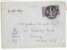1945 - ENVELOPPE Avec CENSURE ANGLAISE Par AVION D' EGYPTE => LONDON - Marcofilie