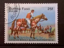 FRANCOBOLLI STAMPS BURKINA FASO 1985 SERIE ARGENTINA 85 CAVALLI E CAVALIERI - Burkina Faso (1984-...)