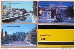 3 Magnetic Cards Cartes Karten Set From AZERBAIJAN Aserbaidschan L'Azerbaïdjan ALCATEL AZTELEKOM 300units View Of Baku - Azerbaïjan