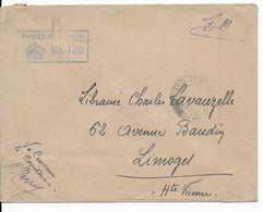 1940 - ENVELOPPE FM Avec CENSURE ANGLAISE - SIGNATURE Du CENSEUR En FRANCAIS => LIMOGES - Guerre De 1939-45