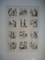 GRAVURE 1873. REVUE COMIQUE DU MOIS. 12 CARICATURES DONT 1 AVEC GUSTAVE COURBET, ET 1 SUR UN DEPUTE. BAINS DE MER....... - Song Books