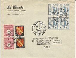 LETTRE 1951 AVEC 8 TIMBRES BLASON DE METZ/BLASON D'ALSACE/ARC DE TRIOMPHE - 1921-1960: Période Moderne
