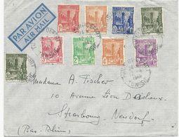 LETTRE PAR AVION 1949 AVEC 9 TIMBRES - Tunesien (1888-1955)