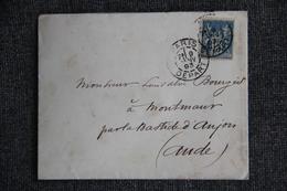 Lettre De PARIS Vers MONTMAUR ( Aude ) -  ( TYPE SAGE, Groupe Allégorique, 15 C BLEU) - Marcophilie (Lettres)