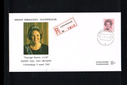 1982 - Netherlands FDC W49 Semi R - Famous People - Royalty - Queen Beatrix 6,50 Gld Registered [VZ005_18] - FDC