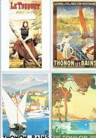 4 Anciennes Pubs Pour Les Chemins De Fer Du Nord Le Touquet - Thonon Les Bains - Toulon - Ferrovie