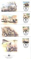 Rhinocéros Blanc - 4 FDC Swaziland De 1987 - Série Complète - Rhinozerosse
