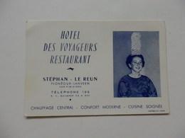 Carte De Visite De L'hôtel Des Voyageurs Restaurant Stéphan Le Reun à Plonéour-lanvern 33. - Cartes De Visite