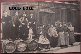 91 - CARTE PHOTO - BRUNOY - CAFE RESTAURANT DE LA MAIRIE - TEXIER VERRIER - Devanture - Tonneaux - Brunoy