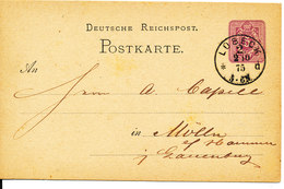 Germany Postcard Postal Stationery Lübeck 2-10-1875 - Entiers Postaux