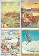 4 Anciennes Pubs Pour Les Chemins De Fer Evian - Chamonix-Mont Blanc - Aix Les Bains - Ferrovie