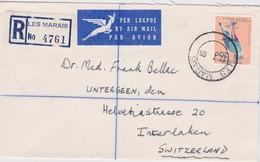 AFRIIQUE DU SUD 1968 LETTRE RECOMMANDEE DE LES MARAIS POUR INTERLAKEN SANS CACHET ARRIVEE - Afrique Du Sud (1961-...)