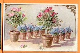 HB335, Bonne Fête, Plantes En Pot, Rosier, Rose, Série Fantaisies 4015, Circulée 1920 - Fleurs