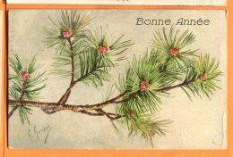 HB338, Bonne Année, Illustrateur, Pin, Circulée 1921 - Arbres