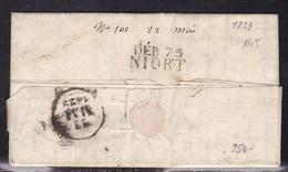 Deux Sevres, Deb 75/Niort Sur LAC De 1829 - Cote 160 € - Postmark Collection (Covers)