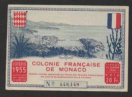 MONACO - Loterie 1955 - Colonie Française De Monaco - 2 Scans - Billets De Loterie
