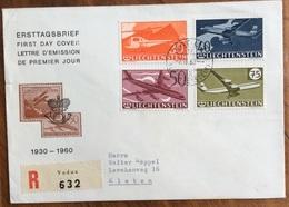 LIECHTENSTEIN  POSTA AEREA 1930-1960 SU RACCOMANDATA DA VADUZ A KLOTEN IN DATA 7/4/60 - Liechtenstein