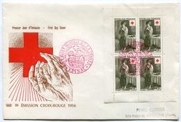RC 7606 FRANCE FDC ENVELOPPE 1er JOUR FEUILLET DE CARNET CROIX ROUGE 1956 - FDC