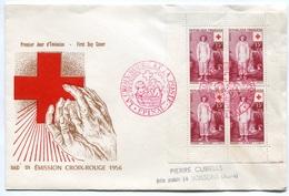 RC 7607 FRANCE FDC ENVELOPPE 1er JOUR FEUILLET DE CARNET CROIX ROUGE 1956 - FDC