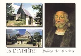 37  LA DEVINIERE / MAISON NATALE ET PORTRAIT DE RABELAIS / 2 VUES - Francia